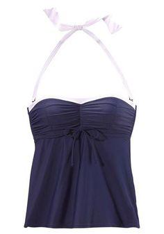 #LASCANA #Damen #Bügel #Bandeau #Tankini #blau - Im trendigen Retro-Look mit weißen Kontrastblenden - Top in figurfreundlicher A- Form - Seitliche Stäbchen und eingearbeitete Bügel für einen perfekten Halt - Abnehmbare Träger, im Nacken zu binden - Unter der Brust regulierbar - Brustbereich und Hose leicht gefüttert