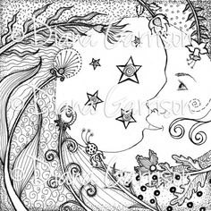 """Now available on Etsy. """"Moon Dance"""" Digi Digital Stamp by Diana Garrison. $3.00"""