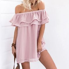 Kelsey Off Shoulder Ruffles Dress ($32) ❤ liked on Polyvore featuring dresses, off the shoulder ruffle dress, frill dress, pink dress, pink frilly dress and flutter-sleeve dresses