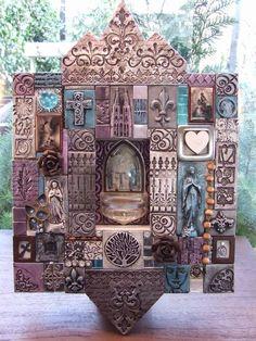 Mixed media clay shrine