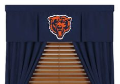 "Chicago Bears Window Valance by Sports Coverage. $35.95. Screen-printed team logo. VALANCE. Looks and feels like a real jersey. Coordinates with our comforters. Pocket 3"" Header 2"" L 88 in; H 14 in. Put the finishing touches on your favorite room with the Sports Coverage valance, showcasing a team-color design with a screen-printed team logo."