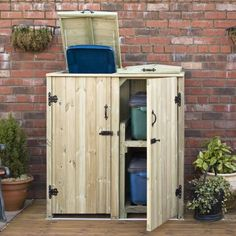 Garden Village Storage for 1 Bin and 2 Recycle Boxes A