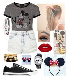 """Disneyworld!!"" by elliethemunchkin on Polyvore featuring beauty, Topshop, Converse, Casetify, Lime Crime, Disney, Forever 21 and Accessorize"