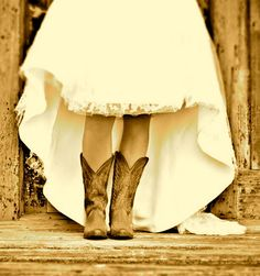 so cute! Cowgirl boots with a Wedding dress.