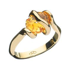 Women Rings, 18ct Gold Entwine Citrine Ring