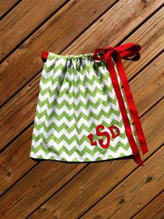 Custom boutique clothing. Girls green white chevron Christmas pillowcase dress. Monogram initials. red ribbon. By EverythingSorella via Etsy.