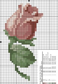 вышивка бутон Cross Stitch Cards, Cross Stitch Rose, Modern Cross Stitch, Cross Stitch Flowers, Cross Stitching, Cross Stitch Embroidery, Cross Stitch Patterns, Dot Art Painting, Types Of Embroidery
