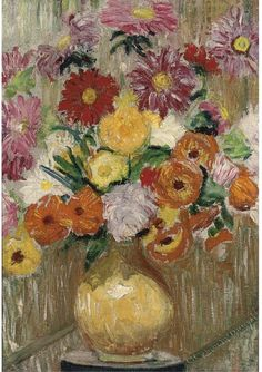 """poboh: """"Flowers in a yellow vase upon a plinth, Lily Martha Maud MacDougall. Still Life 2, Yellow Vase, Feeling Special, Past, Create Your Own, Lily, Paintings, People, Flowers"""