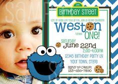 Cookie Monster Birthday Invitation / Printable / Photo Invitation