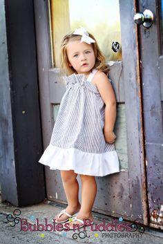 Flower girl??? The Ruffle Halter Dress....... Seersucker. $30.00, via Etsy.
