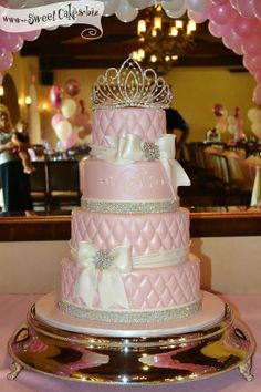 pink princess birthday cake w/ a tiara, bows and crystals Sweet 16 Cakes, Cute Cakes, Pretty Cakes, First Birthday Cakes, Birthday Cake Girls, Princess Birthday, 40th Birthday, Birthday Ideas, Pink Princess Cakes