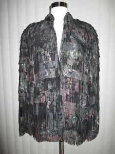 ROBERTO CAVALLI purple multi FRINGE leather jacket VINTAGE runway couture sz SM #RobertoCavalli #BasicCoat