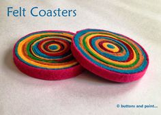 buttons and paint...: ... and some Felt Coasters