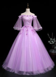 Apr 2020 - Lavender Tulle Off Shoulder Long Strapless Formal Prom Dress With Slee – Simplepromdress Pretty Prom Dresses, Prom Dresses With Sleeves, Sweet 16 Dresses, Ball Dresses, Elegant Dresses, Beautiful Dresses, Ball Gowns, Evening Dresses, Chiffon Dresses