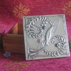 Pewter box with Voysey bird design
