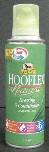 Absorbine Hooflex Natural Spray by Absorbine. Save 7 Off!. $11.42. Size: 5 Oz. Hooflex(R) Natural Spray is a brand-new, first of its' kind way to apply hoof dressing. This innovative design sprays from any angle, even upside down. The non-aerosol spray eliminates messy brushes while keeping the product free of dirt and debris. Herbal ingredients including tea tree oil, arnica, comfrey and avocado oil help promote healthy hoof growth and maintain the hoof's moisture balance. Quiet non-aerosol…
