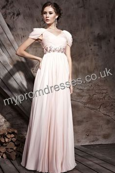 Floor Length V-neck Pink Chiffon A-line Evening Dress  http://www.mypromdresses.co.uk