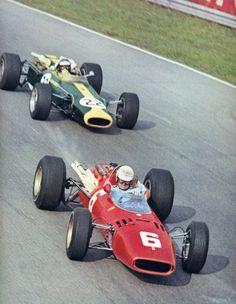 Ludovico Scarfiotti, Monza 1966, (Ferrari 312), followed by Jim Clark (Lotus 43). Only F1 win for Scarfiotti.