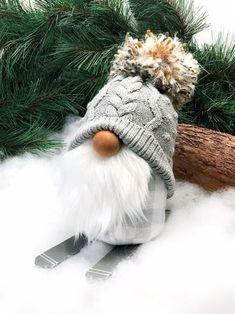 Ski Bum Gnome -- Skiing Gnome -- White and Grey Buffalo Check Grey Sweater Hat with Pom Pom Gnome -- Cabin Decor -- Tomte Gnome, christmas projects, Christmas Gnome, Christmas Projects, Winter Christmas, Gnome Ornaments, Scandinavian Gnomes, Creation Deco, Christmas Decorations, Christmas Ornaments, Craft Fairs