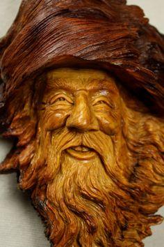 Wood Carving Wood Spirit Elf Wizard Unique by TreeWizWoodCarvings
