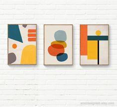 Orange Wall Art, Colorful Wall Art, Abstract Geometric Art, Abstract Wall Art, Dorm Art, Triangle Art, Mid Century Art, Diy Canvas Art, Linocut Prints