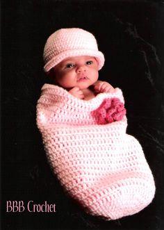 BBB Crochet Newborn Baby Cocoon Set with matching headband