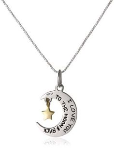Gifts for Boyfriend Just Because - I Love You To The Moon and Back -- Moon and Star Pendant Necklace