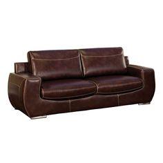 Tekir Bonded Leather Sofa in Dark Chocolate, Chocolate Leatherette