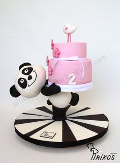 Panda delivers a cake! - A cake stand made by us and covered in sugar paste, with a small cake on top. The deliver was made by a Panda witch is a favourite TV channel icon amogst kids around this place Baby Cakes, Baby Birthday Cakes, Girl Cakes, Panda Birthday, Anti Gravity Cake, Gravity Defying Cake, Pretty Cakes, Cute Cakes, Fondant Cakes