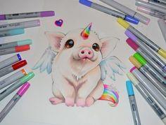 Pigasus / Farm Animal / Copic Marker, Lighane's Artblog on ArtStation at https://www.artstation.com/artwork/AaR5z
