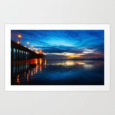 Sunset ~ Huntington Beach Pier, CA  Art Print by John Minar - $14.60