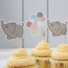 Ginger Ray Vintage Baby Elephant & Pastel Balloon Food Cupcake Flag Toppers - Little One: Amazon.co.uk: Kitchen & Home