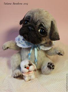 """Купить """"Бади"""" - мопс, мопсик, войлочная игрушка, авторская игрушка, собака игрушка, войлочная собака"""