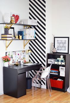 Small Workspace with beautiful gold and black accents.