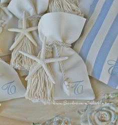 Starfish gift pouches-By the Water event inspiration Wedding Cake Boxes, Wedding Favors, Burlap Crafts, Diy And Crafts, Rehearsal Dinner Decorations, Lavender Bags, Baby Wedding, Wedding Preparation, Baby Shower Themes