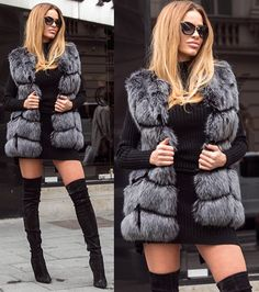 Vesta Blana Snow Gri • Chic Diva  lungimea este de 70 cm-chic look este realizata din insertii de blanita , intre fâsii de piele- blanita eco sintetica blana densa - pufoasa si fina la atingere Fur Coat, Winter Jackets, Superhero, Fashion, Winter Coats, Moda, Winter Vest Outfits, Fashion Styles, Fashion Illustrations