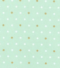 Keepsake Calico Cotton Fabric - Metallic Dot Mint Gold