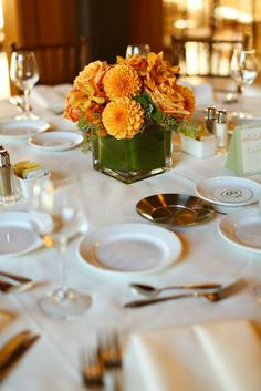 Orange and gold table decor | Mark William Photography
