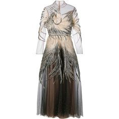 Valentino feather embellished tulle gown ($16,080) ❤ liked on Polyvore featuring dresses, gowns, valentino, embellished gown, tulle gown, brown dress, long dresses and sheer long sleeve dress
