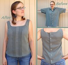 Button-Back Blouse Refashion by CarissaKnits