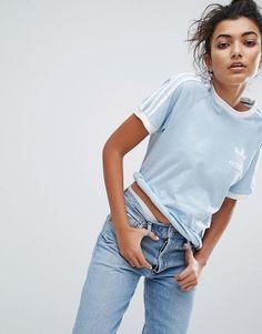 adidas Originals Blue Three Stripe Boyfriend T-Shirt d0038efbbf38b