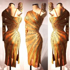 Golden one shoulder dress with sun rays - VESA ""