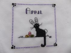 """Calico Crossroads """"April"""" Finished Completed Cross Stitch"""