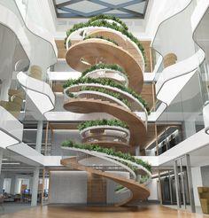 Afin de transformer de manière novatrice une simple colimaçon central, pour qu'il devienne bien plus que la liaison entre deux étages, un designer britannique a imaginé l'escalier vivant, une merveille architecturale, 100% verte.