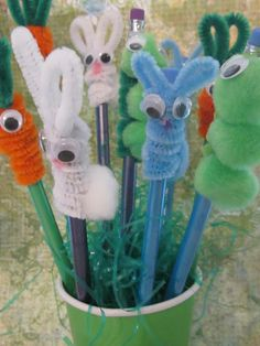 Cheap Pencil Toppers!  As you can see we made bunnies, carrots and worms!
