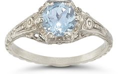 Vintage Floral Aquamarine Ring in 14K White Gold vintage aquamarine rings