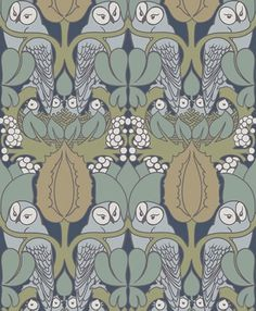 WHOOT Whoot is a seductively mystical and playful pattern of owls and owlets with foliage and nest.  Classically colored with Voysey's maste...