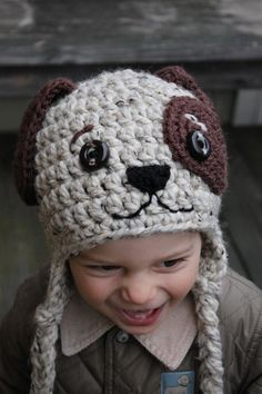 Crochet dog earflap hat