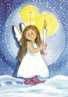 superbes illustr de virpi pekkala - Page 4 Christmas Angels, Vintage Christmas, Angel Drawing, Angel Crafts, Angel Pictures, Christmas Drawing, Winter Art, Angel Art, Whimsical Art