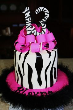 - Finally got to do the zebra/feather cake I had been wanting to do.  Was not too happy with the numbers and how they were positioned, but they loved the cake.  Buttercream with zebra stripes done in fondant and bow/numbers done in gumpaste.